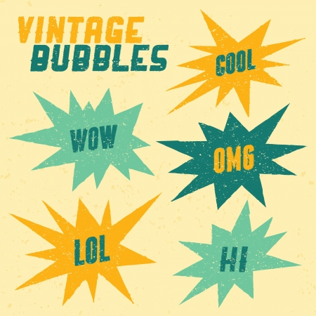 acronyms: Retro style textured speech bubbles with acronyms and words in blue and yellow.