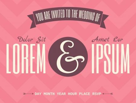 vendimia: Plantilla de invitación de boda retro con diseños tipográficos contra Chevron de color rosa oscuro de fondo.