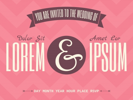 names: Retro wedding invitation template with typographic designs against deep pink chevron background.