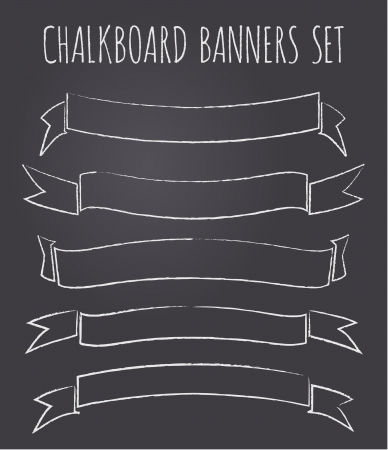 chalk line: A set of five vintage chalkboard style bannersribbons with copy-space. Illustration
