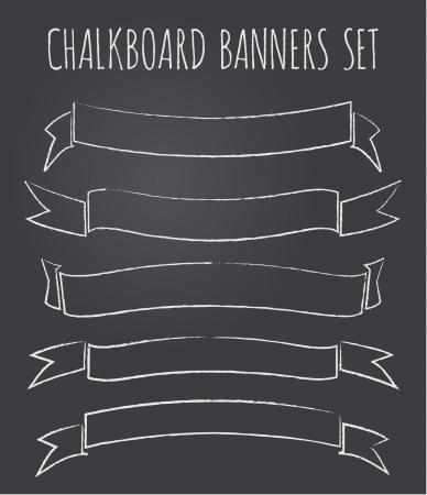 chalkboard: Un ensemble de cinq anciennes bannières de style tableau noir  rubans avec copie de l'espace.