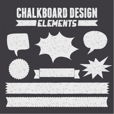 A set of chalkboard style design elements with copy-space. Vector