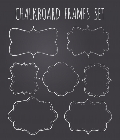 chalk line: A set of seven vintage chalkboard style frameslabels with copy-space.