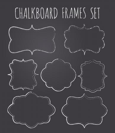 lavagna: Un insieme di sette lavagna vintage fotogrammi  etichette con copia-spazio di stile. Vettoriali