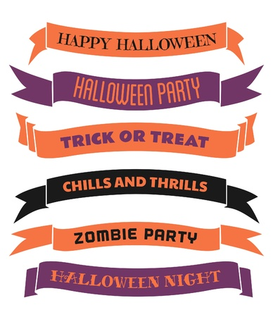A set of six Halloween banners/ribbons in orange, purple and black, isolated on white background. Vector