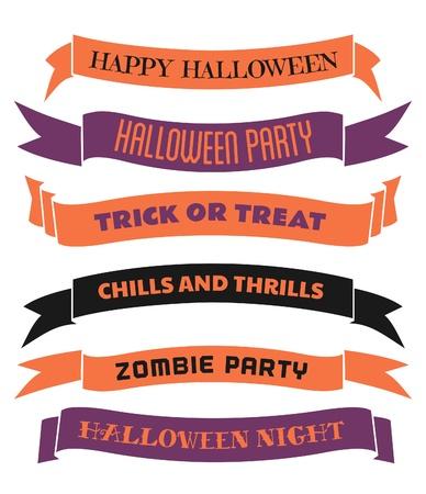 titreme: Beyaz zemin üzerine mor ve siyah izole turuncu altı Halloween afiş  şeritler, bir dizi. Çizim