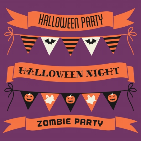 A set of Halloween banners, ribbons and bunting in orange, white and black against purple background. Vector