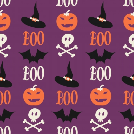 Seamless repeat pattern for Halloween in orange, purple, white and black. Vector