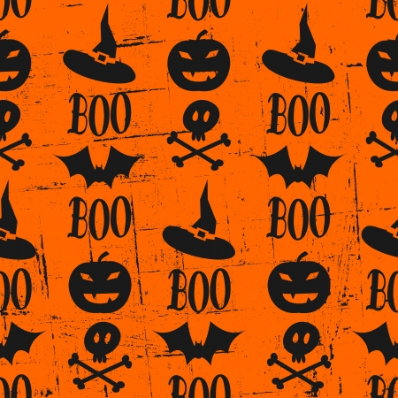 Seamless grunge pattern for Halloween in orange and black. Vector