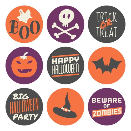 A set of nine Halloween stickers in orange, purple and gray, isolated on white background. Vector