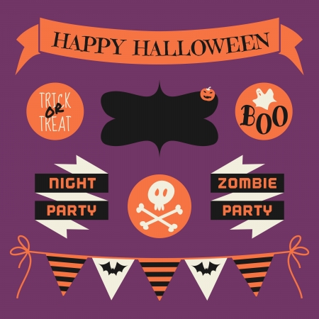 A set of Halloween design elements in orange, white and black against purple background. Vector