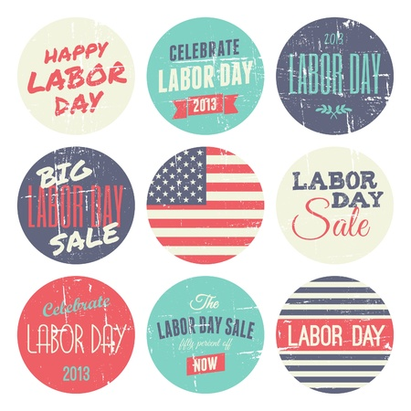 A set of nine distressed vintage Labor Day stickers, isolated on white background. Illustration