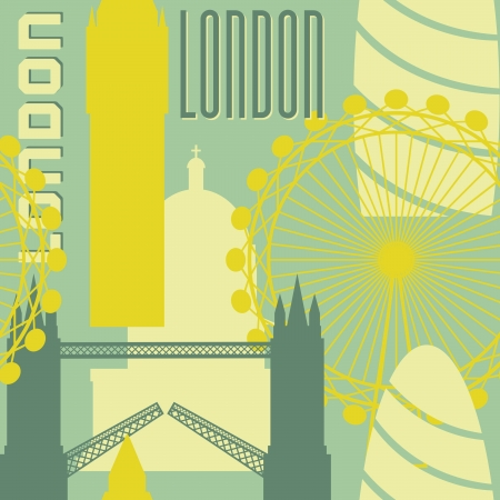 Seamless repeat pattern with London symbols and landmarks. Vector