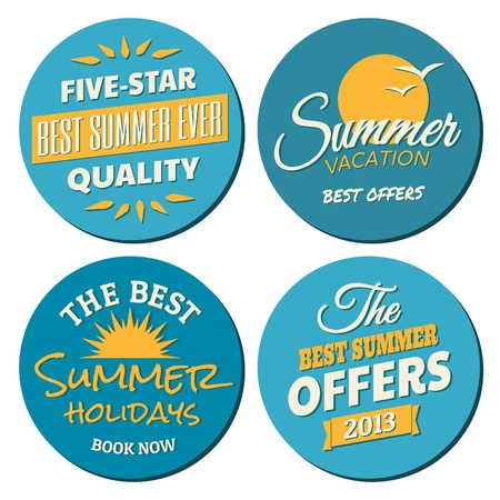 A set of four labels for the summer season in blue and yellow, isolated on white. Vector