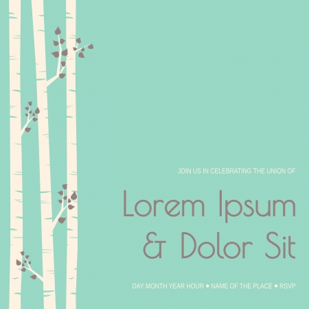 Elegant wedding invitation template with birch trees.