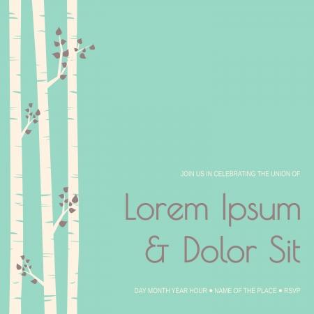 Elegant wedding invitation template with birch trees. Stock Vector - 21306213