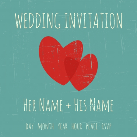 Vintage wedding invitation template with two hearts. Vector