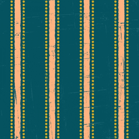 Vintage seamless pattern in navy blue, salmon and green. Vector