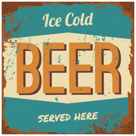 "vintage: 復古風格錫號""冰鎮啤酒""。 向量圖像"