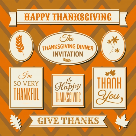 autumn: A set of Thanksgiving day labels and tags against seamless chevron background.