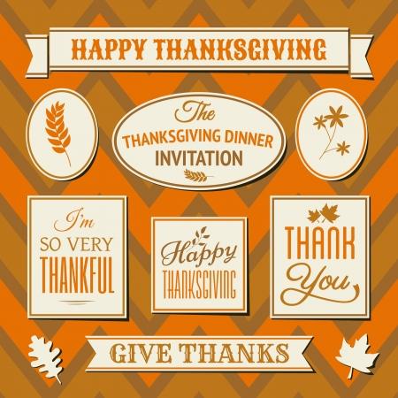 accion de gracias: Un conjunto de etiquetas de d�a de Acci�n de Gracias y las etiquetas en contra de fondo sin fisuras chevron. Vectores