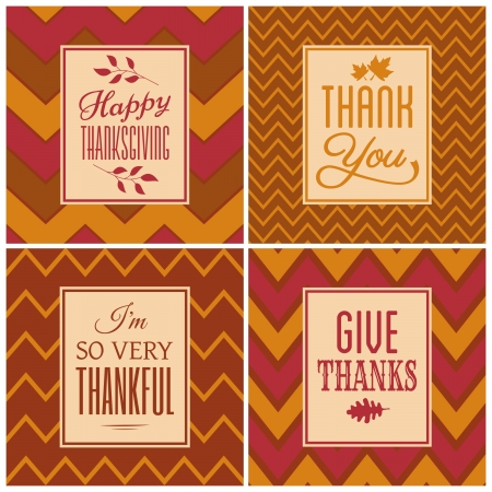 thanksgiving leaves: A set of four chevron background cards for Thanksgiving Day.