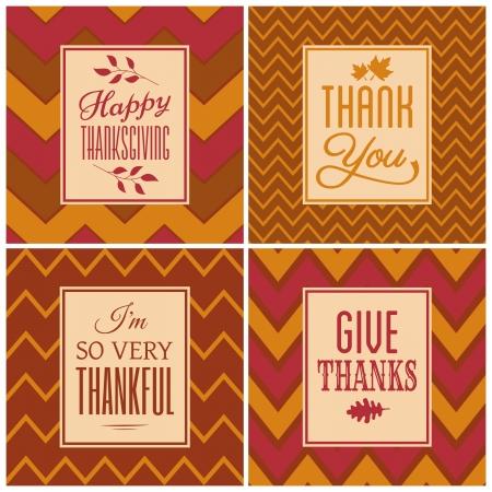 caes: Un conjunto de cuatro cartas fondo gal�n para el D�a de Acci�n de Gracias. Vectores
