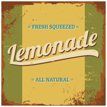 Vintage style tin sign 'Fresh Squeezed Lemonade'. Stock Vector - 22162994