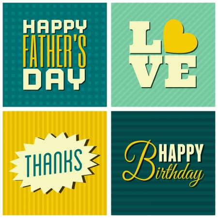 A set of four retro design greeting cards for various occasions. Vector