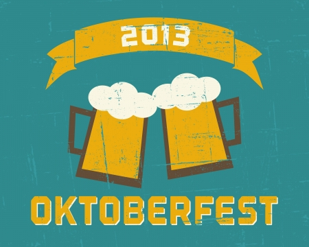 Vintage Oktoberfest poster in blue and yellow. Vector