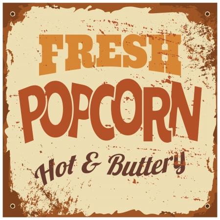 Vintage style tin sign Fresh Popcorn. Vector
