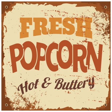 buttery: Vintage style tin sign Fresh Popcorn.