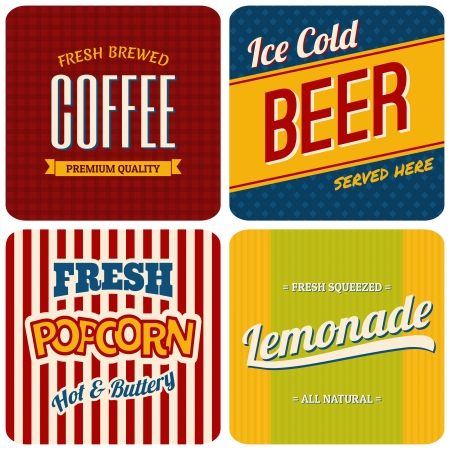 A set of four retro designs - packaging for coffee, beer, popcorn and lemonade.