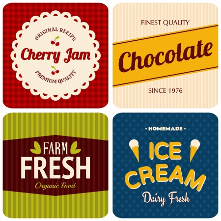 A set of four retro designs - packaging for cherry jam, chocolate, farm fresh products and ice cream. Vector