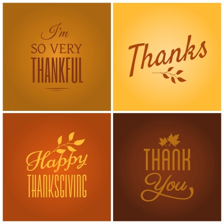 thanksgiving: A set of four typographic design cards for Thanksgiving Day. Illustration