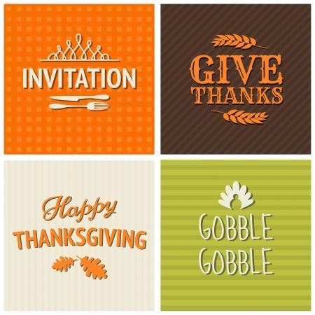 caes: Un conjunto de cuatro cartas dise�o tipogr�fico para el D�a de Acci�n de Gracias.