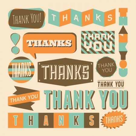 A set of retro style 'Thank You' design elements. Vector