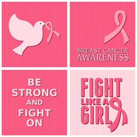 seni: Una serie di carte consapevolezza del cancro al seno. Vettoriali