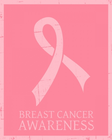 breasts: Vintage style Breast Cancer Awareness poster.
