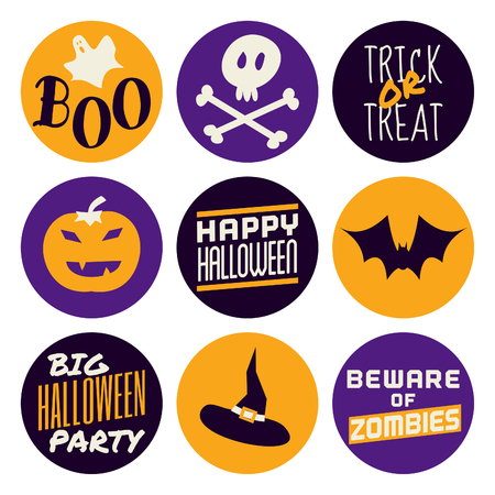 A set of nine flat design icons for Halloween isolated on white. Vector