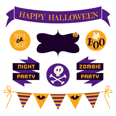 A set of Halloween design elements in purple, yellow and black isolated on white. Vector