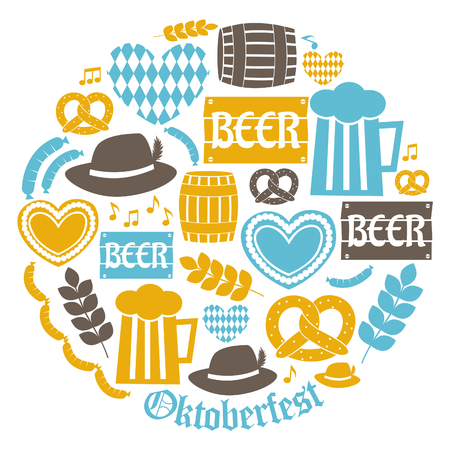 A set of flat design icons for Oktoberfest isolated on white. Vector
