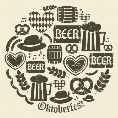 A set of grunge icons for Oktoberfest. Vector