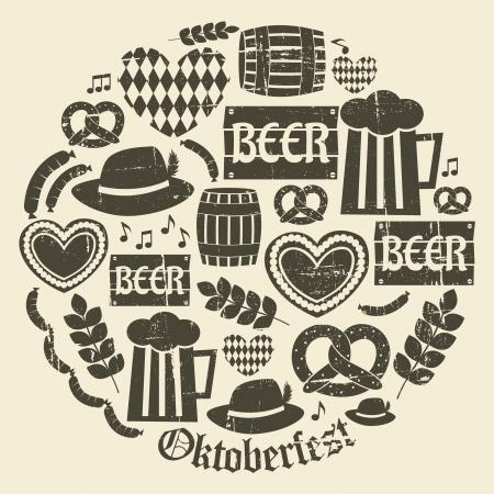 m�nchen: Een set van grunge pictogrammen voor Oktoberfest. Stock Illustratie