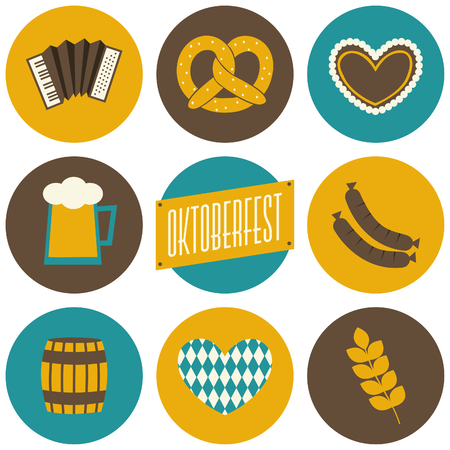 A set of nine flat design icons for Oktoberfest isolated on white.