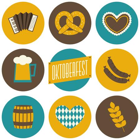 Ein Satz von neun flache Design-Ikonen für Oktoberfest isoliert auf weiß. Standard-Bild - 22244703