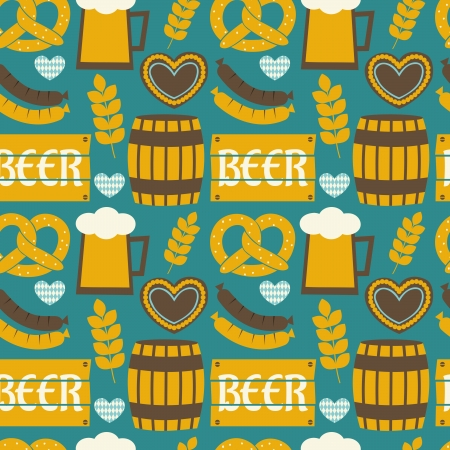 Seamless repeat pattern for Oktoberfest in blue, yellow and white. Vector