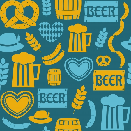Seamless repeat pattern for Oktoberfest in blue and yellow. Vector