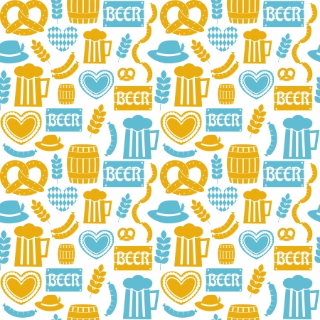 Naadloze patroon herhalen voor Oktoberfest in blauw en geel. Stock Illustratie