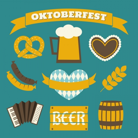 german food: A set of flat design icons and a banner for Oktoberfest in blue, yellow and white.